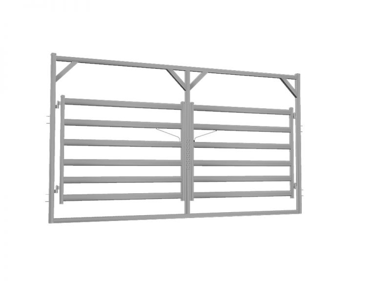 4.2m Cattle Rail Double Gate in Frame - Budget Steel
