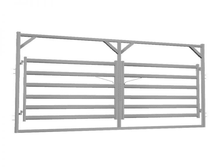 6.0m Cattle Rail Double Gate in Frame - Budget Steel